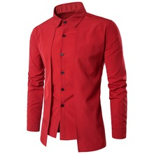 Oeak 2019 New Mens False Two Pieces Solid Color Shirts Causa