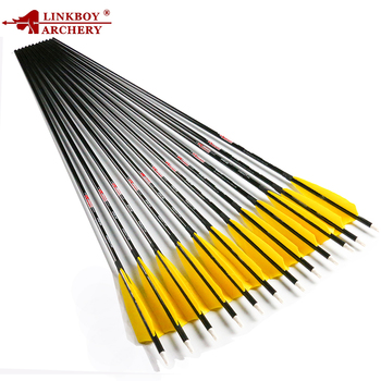 Linkboy Archery Pure Carbon Arrows Sp300 340 400 500 600 700 800 30/32inch ID6.2mm Archery Bow Arrows Compound Bow Hunting