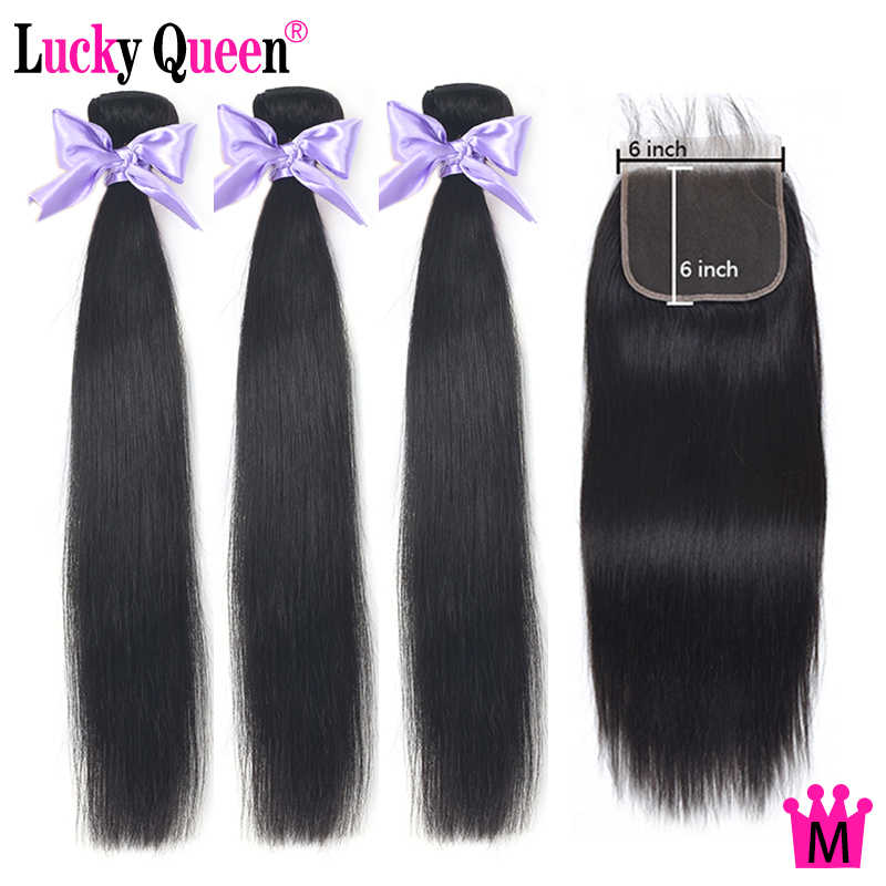 Peruvian Straight Hair Bundles With 6x6 Closure Pre Plucked Non-Remy Lucky Queen Hair Matio Ratio Hair Bundles With Lace Closure