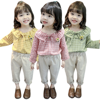 New Autumn Girls Clothing Sets Children Girl Long Sleeve Plaid T shirt Blouse+Pants Trousers Casual Outfits Set