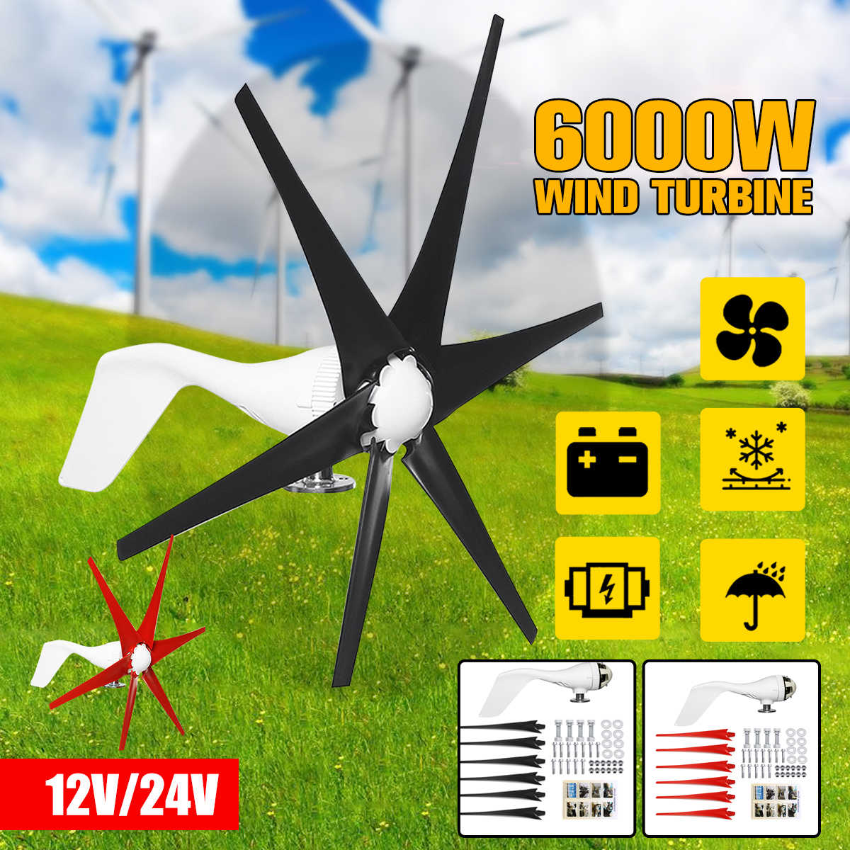 Éolienne horizontale à lame 6000W 12V/24V 6 lames | Éoliennes, moulin à vent domestique