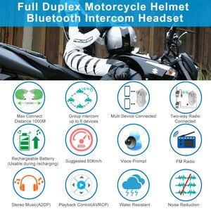 Image 2 - 2pcs FreedConn Original T MAX Moto Helmet Bluetooth Headset 6 riders Talking Motorcycle Intercom 1000m FM Radio Bluetooth 4.1