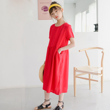 Pockets Teenager Girls Dresses 2020 Summer New Cotton Long Dress Girl Elegant Button Kids Princess Dress Red Children Clothes new 2017 summer autumn girl dress stripe cartoon cute children dresses side 2 pockets cotton vestidos girls clothes kids costume