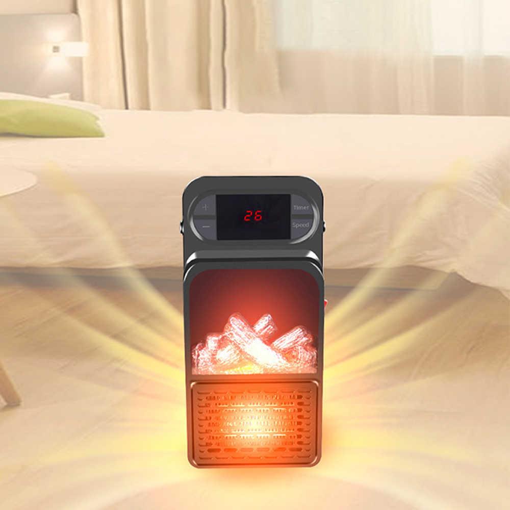Domowy ścienny podręczny wiatrak Mini elektryczny ścienny podgrzewacz płomienia ogrzewacz powietrza ceramika ptc ogrzewanie grzejnik piecyk LED wyświetlacz