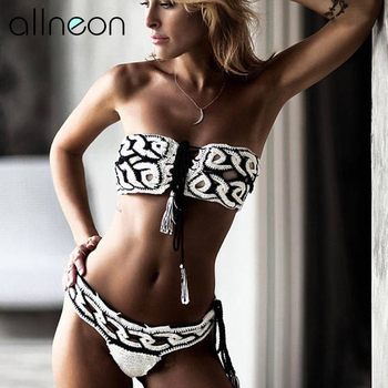 QUEVOON Beach Bikini Sets Off Shoulder Twist Lace up Strapless Tops and Low Waist Pants Knitted Fashion Summer Trip