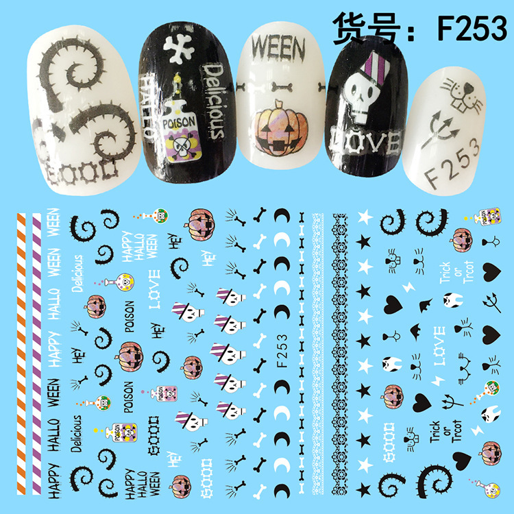 Manufacturers Direct Selling Nail Sticker Halloween Theme Watermark Nail Sticker Creative DIY Nail Sticker Wholesale Customizabl