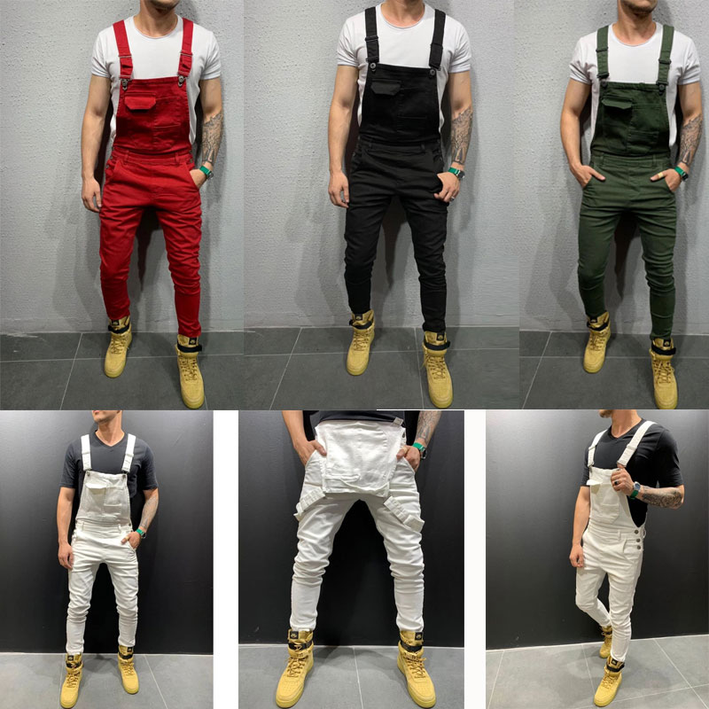 2019 Men'S Casual Jeans Denim Strap Jean Jumpsuit Fitting Sleeveless Casual Overalls Dungarees Playsuit