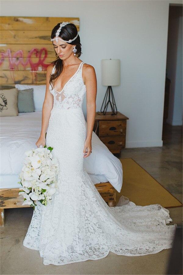 Deep V-neck Mermaid Lace Summer Bohemian Sleeveless Open Back Robe De Soiree Bridal Gown Vestido De Noiva Bridesmaid Dresses