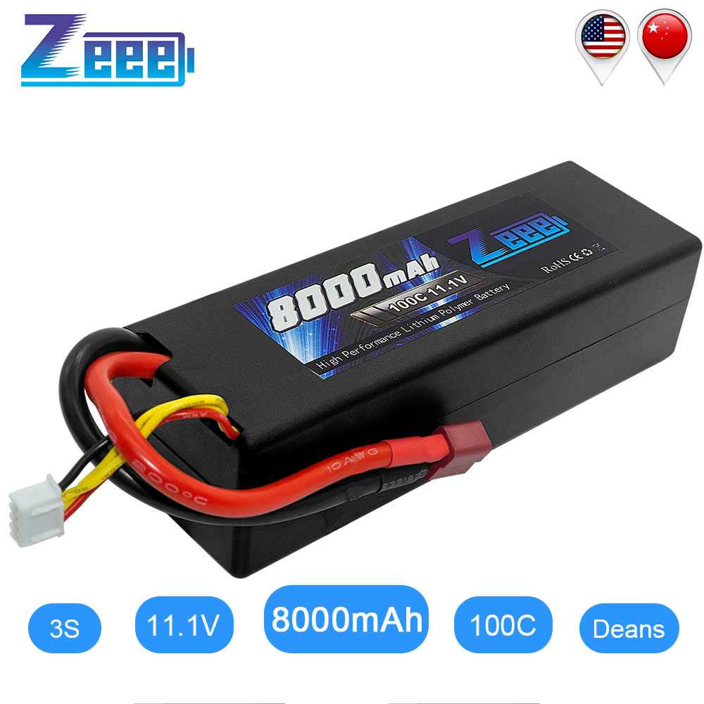 Zeee RC Lipo Battery 11.1V 8000mAh 3S RC Battery Lipo 100C With Deans Plug For Car RC Truck RC Truggy FPV Airplane Boat Buggy
