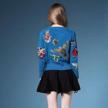 2020 New Autumn Winter Sweaters New Fashion Women's Long Sleeve Elegant birds beading Flower Embroidery novel Wool Sweater(China)