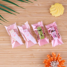 100 Pcs Cartoon Pink Cat Claw Self Stick Package Handmade DIY Small Packaging Candy Sugar Bags 4x8cm