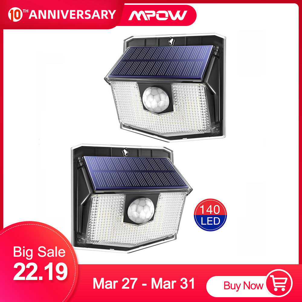 2 Pack MPOW 140 LEDs Solar Outdoor Light IPX7 Waterproof Super Bright Wireless Motion Sensor Lamp With 3 Lighting Mode Wall Lamp