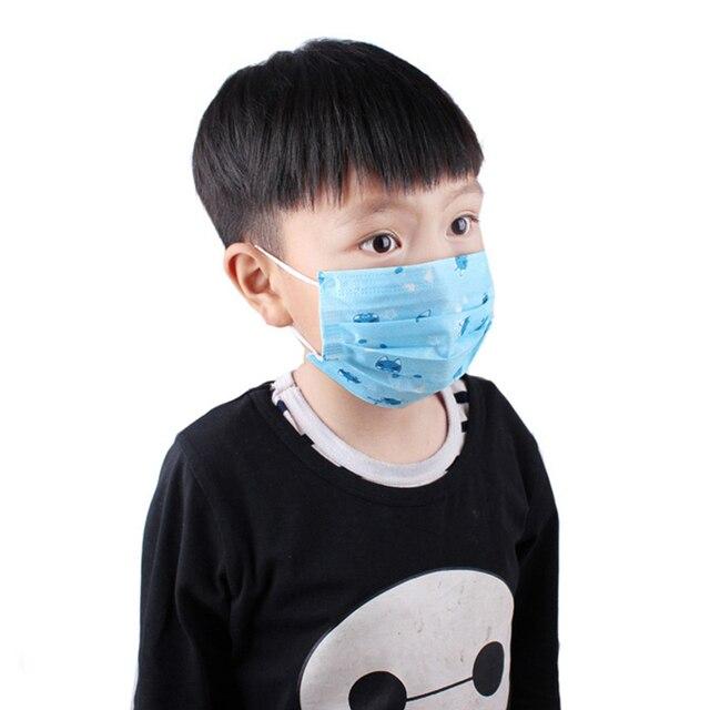 50Pcs Kids Disposable Anti Virus Mouth Mask Cartoon Printed 3 Layers Non-Woven 140x90mm Baby Protective Flu Facial Masks 5