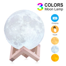 Moon Lamp Moon Light Night Light Light for Kids Gift for Women USB Charging and Touch Control Brightness 3D Printed Lunar Lamp(China)