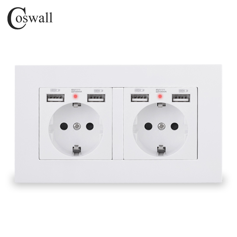 COSWALL Brand 2 Gang Russia Spain EU Standard Wall Socket With 4 USB Charge Port Hidden Soft LED Indicator PC Panel Black White()
