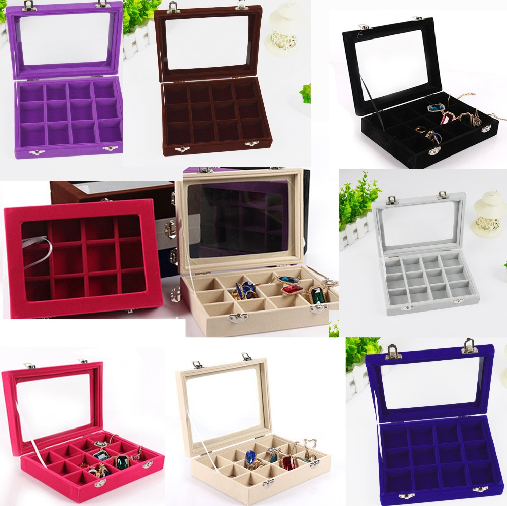 12 Grids Velvet Jewelry Box Rings Earrings Necklaces Makeup Holder Case Organizer Women Jewelery Storage Size:20*15*5cm(L*W*H)
