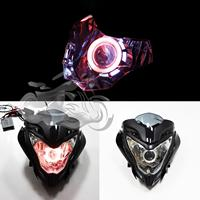 Motorcycle Spare parts headlamp with angel eyes HID Projector headlight with project Fit For BAJAJ PULSAR 150/200 PULSAR150
