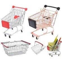 Kids Pretend Play Supermarket Hand Mini Cart Shopping Cart Desktop Decoration Storage Toy Gift Dollhouse Furniture Accessories