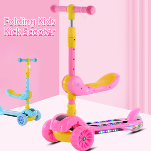 Foldable Adjustable 3-in-1 Kids Kick Scooter Toddler 3 Wheel Boys Girls Flashing Light Music Wheels Foot Scooters Kids Toys Gift(China)