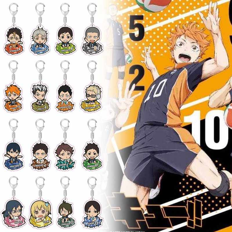Haikyuu! Karasuno Nekoma Anime Volleyball Boys Metal Keychain For Men Acrylic Keyring Bag Pendants Key Chains