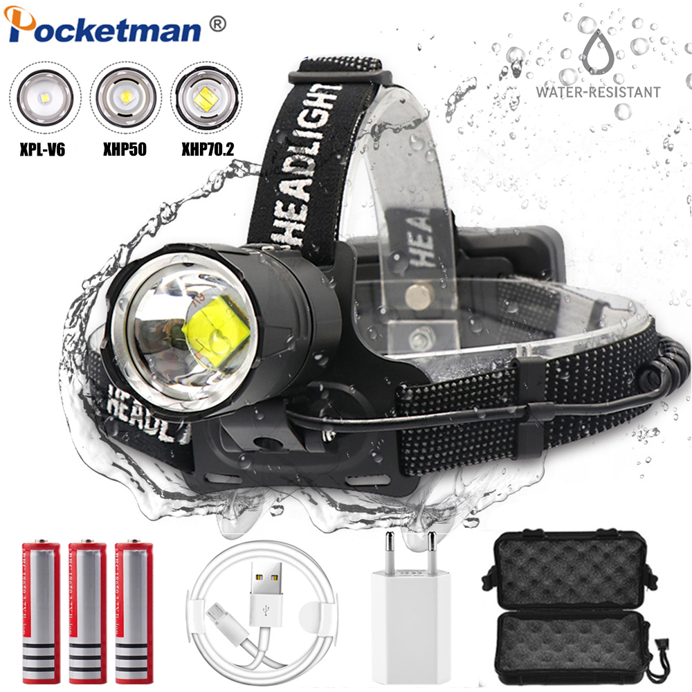 Headlamp XHP70.2 LED Headlight USB Rechargeable Head Light Waterproof Powerful Zoom Head Lamp By 18650 Battery USB Cable
