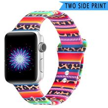 Double Side Print Flowers Silicone Band for Apple Watch 38mm 40mm 42mm 44mm Sport Soft Strap iwatch Series 4 3 2 1