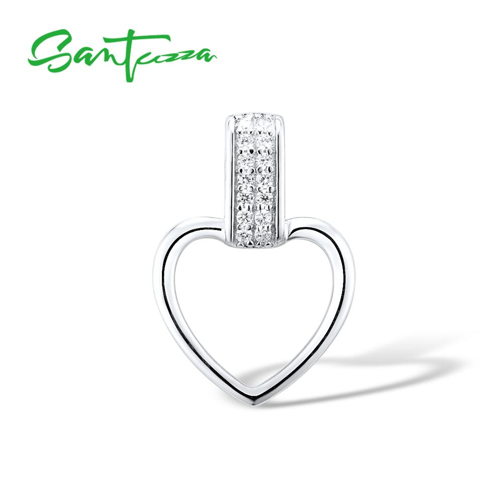 Santuzza Silver Necklaces Pendants For Women Heart Pendant Fit For WCZ Necklace Pure 925 Sterling Silver Slide Necklaces Pendant