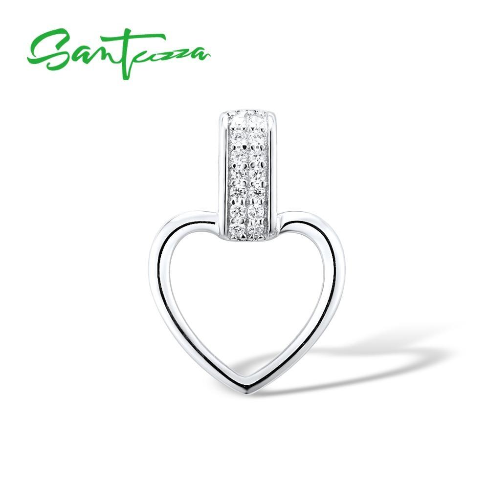 Santuzza Silver Necklaces Pendants For Women Heart Pendant Fit For WCZ Necklace Pure 925 Sterling Silver Slide Necklaces Pendant