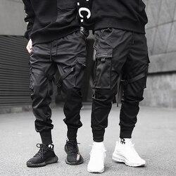 Calças de carga dos homens preto fitas bloco multi-bolso 2020 harem corredores harajuku sweatpant hip hop calças masculinas casuais