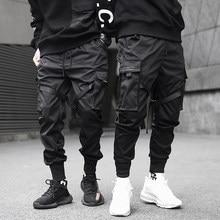 Hommes Cargo pantalon noir rubans bloc multi-poche 2021 Harem Joggers Harajuku pantalon de survêtement Hip Hop décontracté homme pantalon