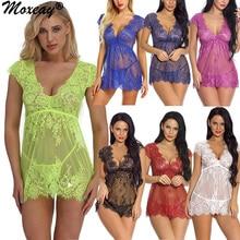 Moxeay Sexy Erotic See Through Womens Nightgown Plus Size Hollow Lace Babydoll Lingerie Nightwear G-string Sleepwear Set Dress low cut plus size see through lace babydoll
