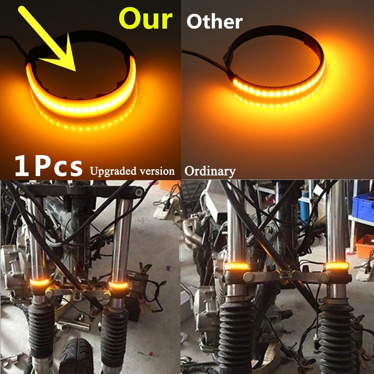 Universal Motorcycle Turn Signal Light 12V LED Fork Turn Signal Strip Light Flashing Amber Lamp For Honda 45mm-70mm