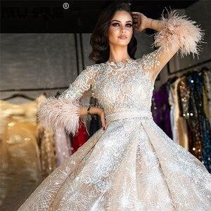 Image 2 - Sparkly Midden oosten Veren Avondjurken 2020 Robe De Soiree Nieuwe Couture Dubai Partij Jassen Kralen Prom Jurk kaftans Arabisch
