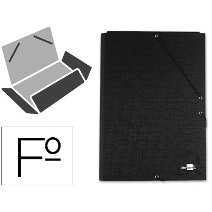 FOLDER LIDERPAPEL RUBBER FOLIO 3 LAPELS CARTON LINED BLACK