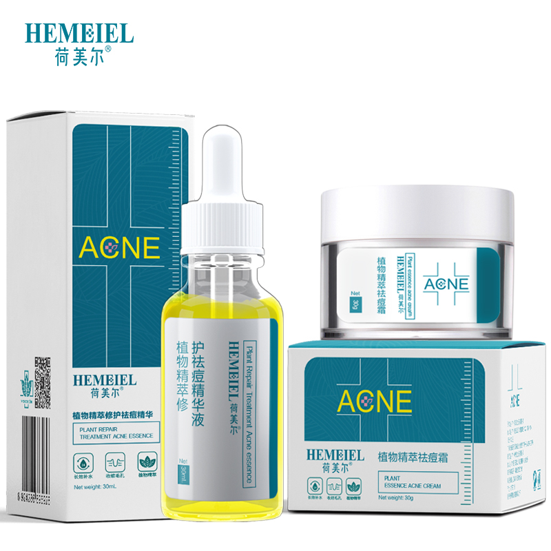 Hemeiel Pimple Acne Treatment Cream Plants Essence Anti Acne Serum Shrink Pore Scar Removal Moisturizing Whitening Face Cream