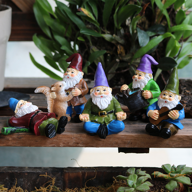 FairyCome 5pcs Fairy Garden Miniatures Gnome Dwarf Micro Mini Gnome  Figurines Garden Gnomes and Fairys Resin Dwarf for Terrarium | Lazada PH