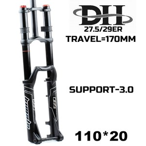 HIMALO MTB DH Fork Downhill 20mm Thru Axle 110mm Width 27.5 29ER Fork 3.0 Tire Dual Crown Travel 170MM Bicycle fork(China)