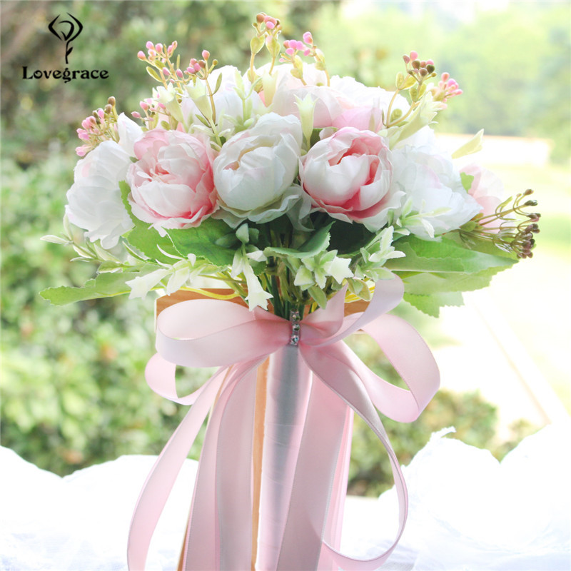 Lovegrace Wedding Bouquet Bridal Bouquet Holder Pink Silk Peony Wedding Bouquets For Bridesmaids Artificial Peony Flowers Decor