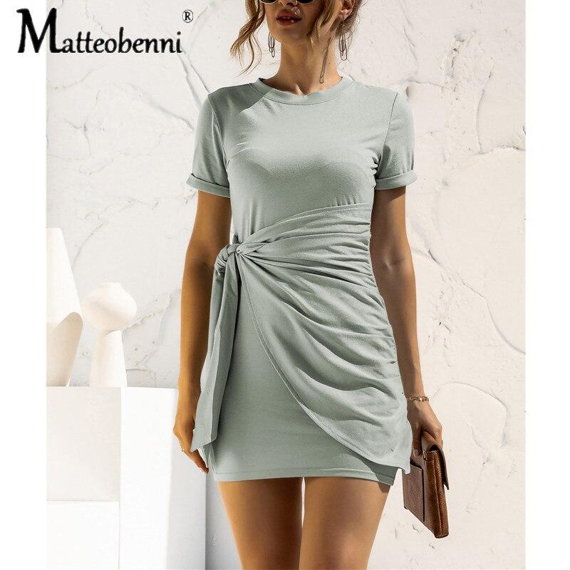 Frauen Casual Oansatz Spitze Up Design Bogen Decor Mini Kleid Sommer Kurzarm Solid Color Bodycon Sexy Paket Hüfte Kurze vestidos