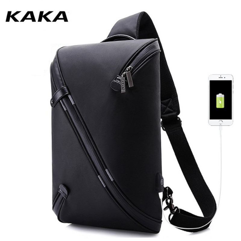 KAKA Fashion Bags 2019 New Technology Chest Pack Men 9.7 Inch Tablet Bag Multiple Layers Waterproof Oxford Casual Chest Bag D121