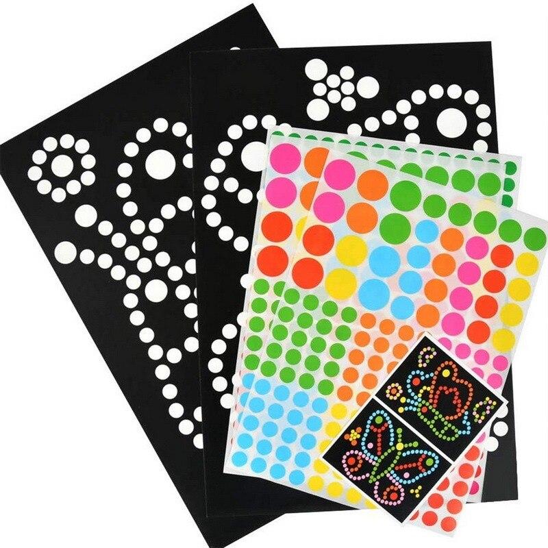 Мозаика-Пазл «сделай сам» с красочными точками, наклейки, игры «сделай сам», Мультяшные животные, Обучающие Развивающие игрушки для детей, п...