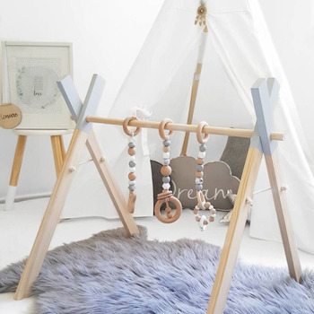 Nordic Baby Gym Play Nursery Sensory Ring-pull Toy Wooden Frame Infant Room Toddler Clothes Rack Gift Kids Room Decor A10
