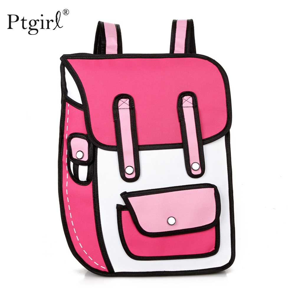 2019 New 3D Jump Style 2D Drawing Cartoon Paper Bag Comic Backpack Ptgirl Fashion Cute Student Bags Unisex Bolos Mochila Escolar