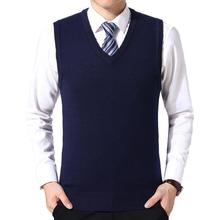 Sweater Vest Men Casual Winter Solid Color V Neck Sleeveless Knitted Woolen Plus Size Vest