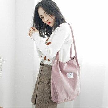 Women Corduroy Tote Ladies Casual Shoulder Bag Foldable Reusable Shopping Beach Bag Female Handbag High Capacity