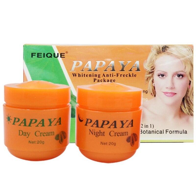2 unids/lote crema blanqueadora de Papaya para cara antipecas crema de día + crema de noche + crema de perlas de larga duración|Crema solar facial|   - AliExpress