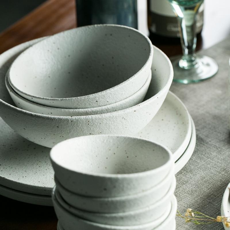 KINGLANG grès céramique ensemble de vaisselle couleur blanche mat assiette à dîner riz bol à soupe Sauce plat Restaurant vaisselle en gros