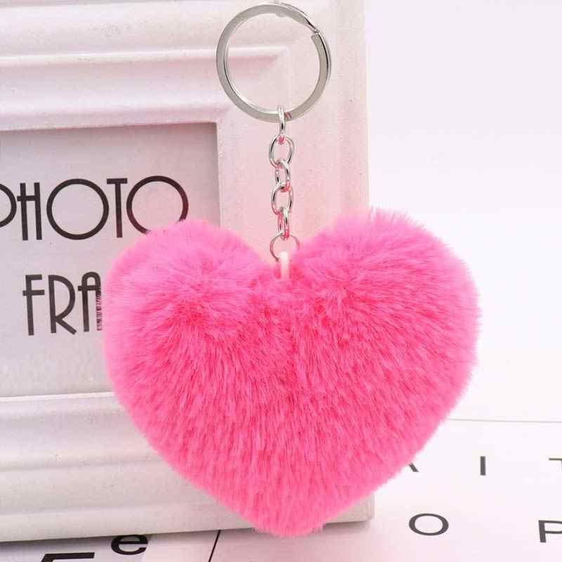 10 cm bonito fofo coração chaveiros simulação de pele de coelho das mulheres chaveiros menina saco pendurar carro chaveiro jóias acessórios