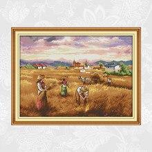 Kits de points de croix chinois Joy dimanche, récolte d'automne DMC 14CT 11CT, tissu en coton, décoration d'hôtel, maison, peinture en usine, vente en gros