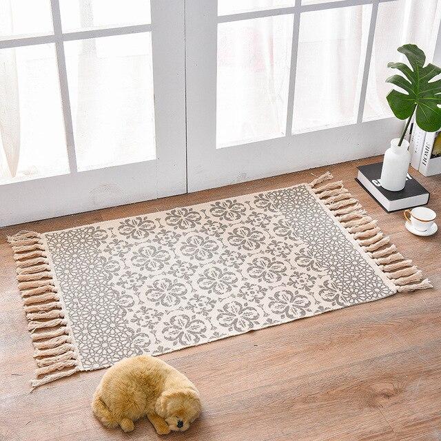 American Bohemian Area Rug Decorative Cloth Hand Woven Geometric Pattern Floor Mat Carpet With Tassels Home Decor 60x90CM